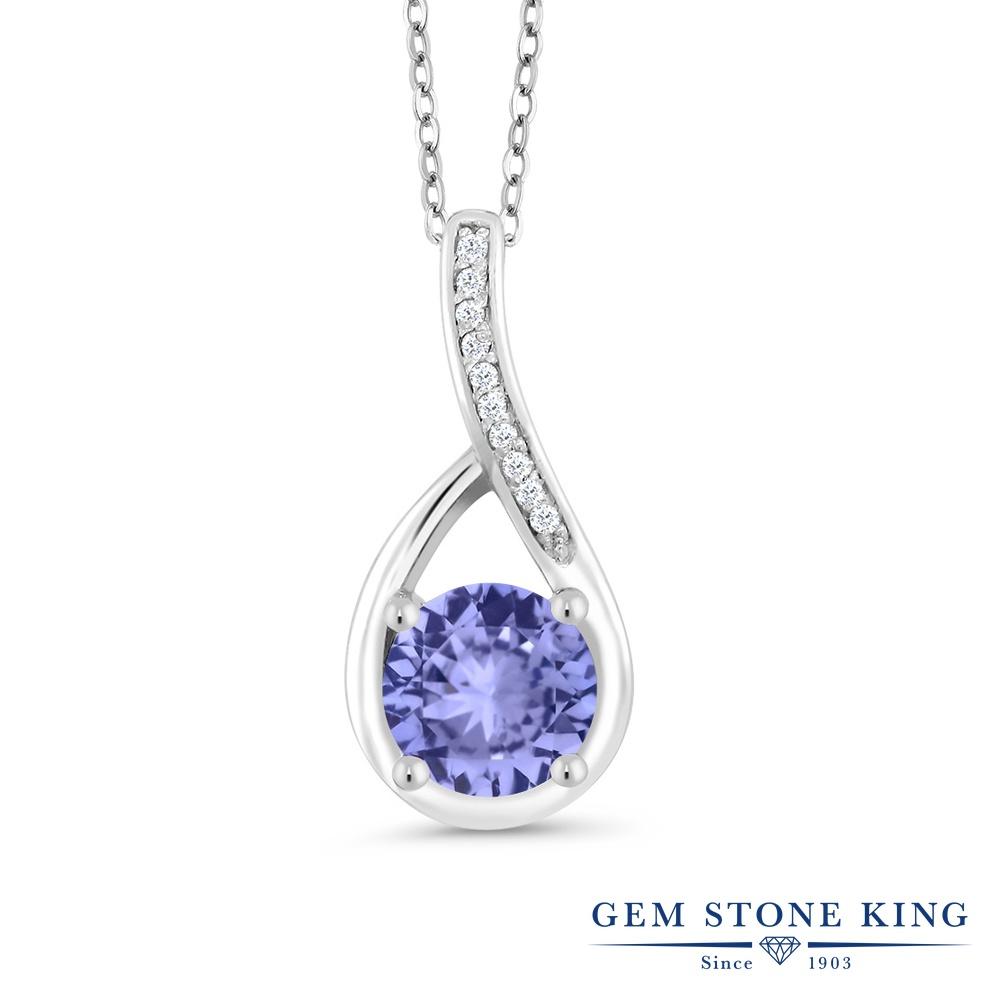 Gem Stone King 0.97カラット 天然石 タンザナイト 天然 ダイヤモンド シルバー925 ネックレス ペンダント レディース 天然石 12月 誕生石 金属アレルギー対応 誕生日プレゼント