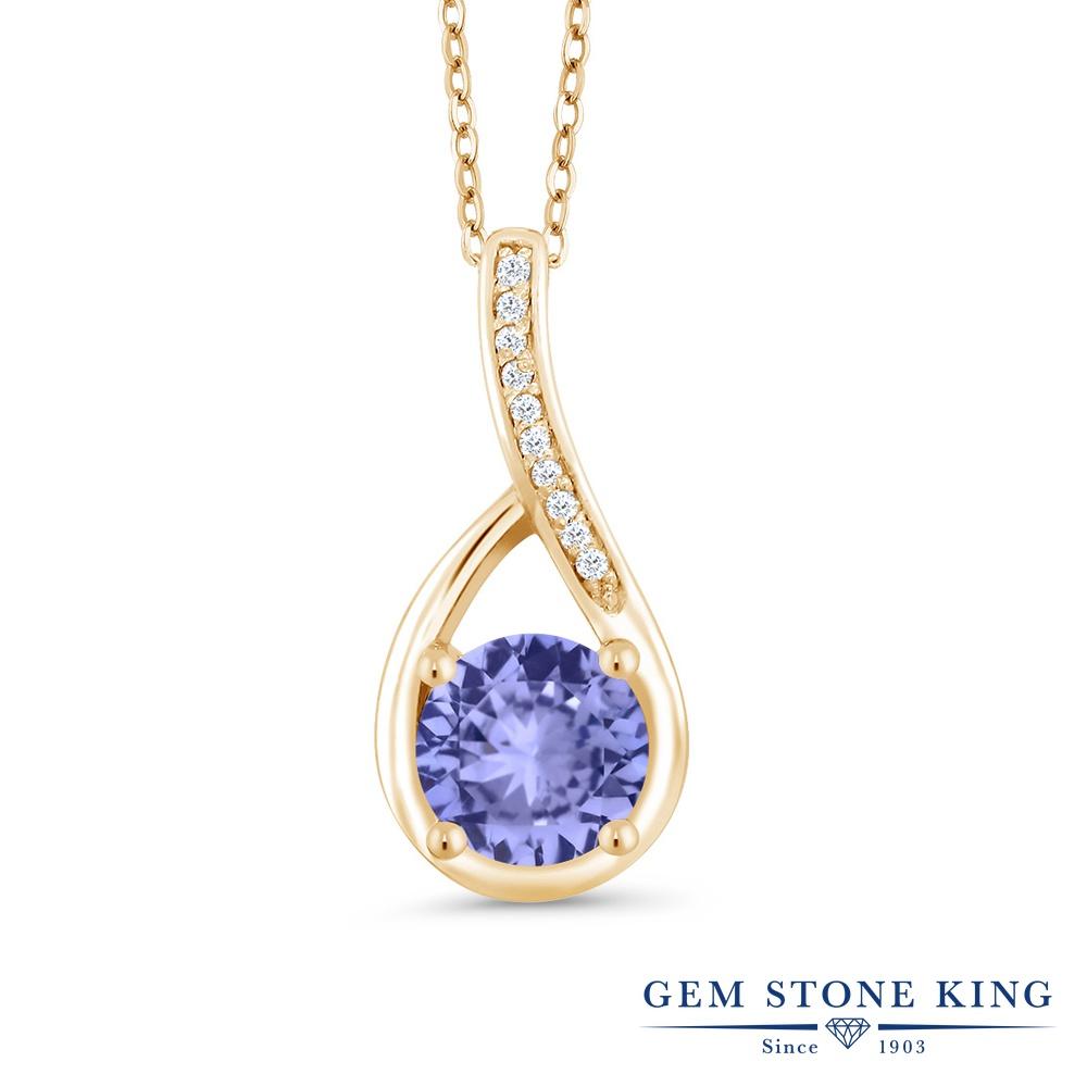 Gem Stone King 0.97カラット 天然石 タンザナイト 天然 ダイヤモンド シルバー925 イエローゴールドコーティング ネックレス ペンダント レディース 天然石 12月 誕生石 金属アレルギー対応 誕生日プレゼント