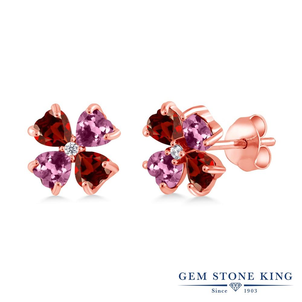 Gem Stone King 2.19カラット 天然 ガーネット 天然 ピンクトルマリン シルバー925 ピンクゴールドコーティング ピアス レディース 小粒 スタッド 天然石 1月 誕生石 金属アレルギー対応 誕生日プレゼント