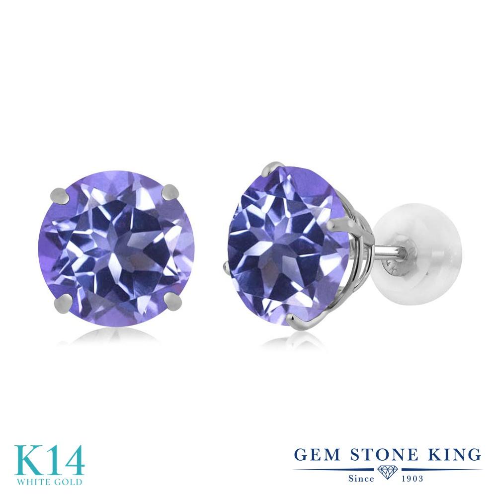 Gem Stone King 4カラット 天然 ミスティックトパーズ (タンザナイトブルー) 14金 ホワイトゴールド(K14) ピアス レディース 大粒 シンプル スタッド 天然石 金属アレルギー対応 誕生日プレゼント