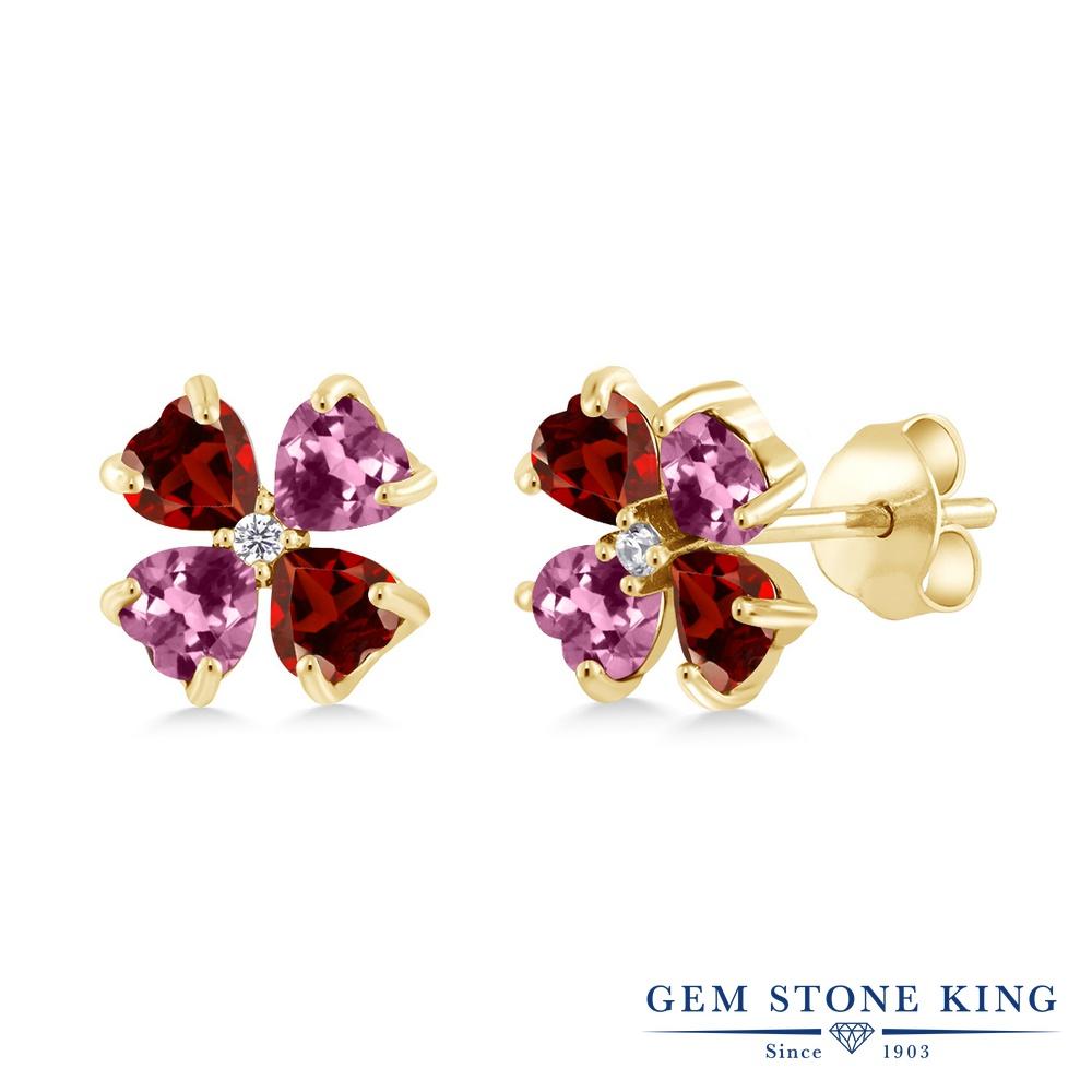 Gem Stone King 2.19カラット 天然 ガーネット 天然 ピンクトルマリン シルバー925 イエローゴールドコーティング ピアス レディース 小粒 スタッド 天然石 1月 誕生石 金属アレルギー対応 誕生日プレゼント