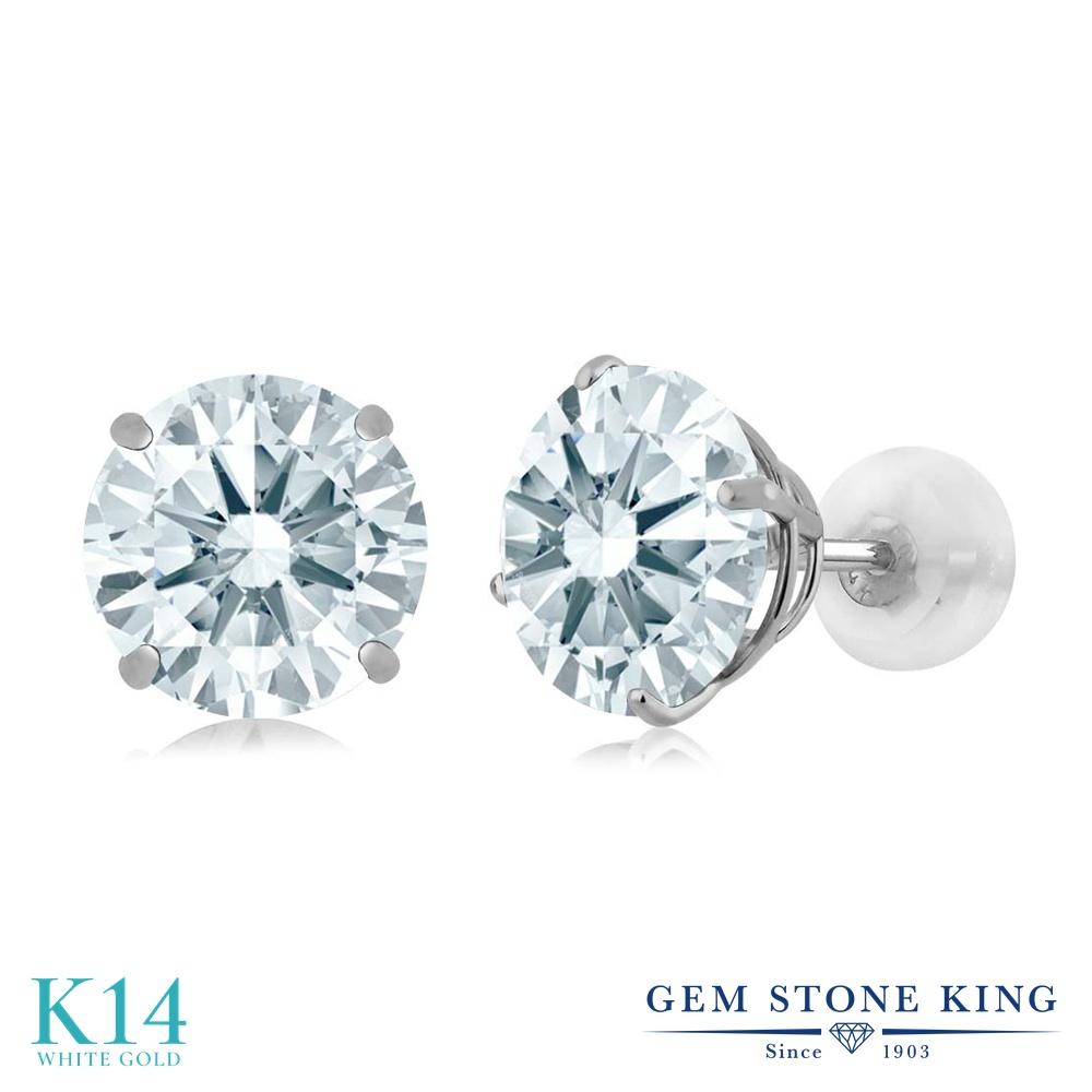 Gem Stone King スワロフスキージルコニア (無色透明) 14金 ホワイトゴールド(K14) ピアス レディース CZ 大粒 シンプル スタッド 金属アレルギー対応 誕生日プレゼント