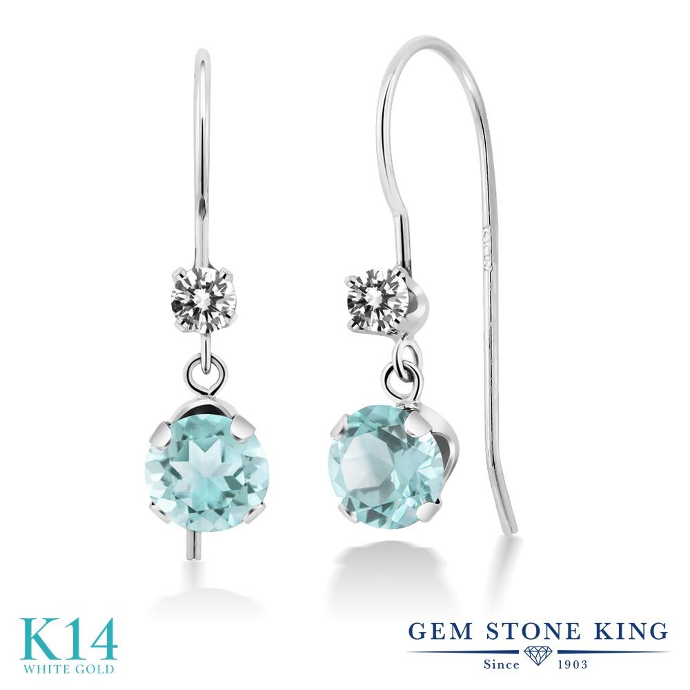 Gem Stone King 1.53カラット 天然 スカイブルートパーズ 天然 ダイヤモンド 14金 ホワイトゴールド(K14) ピアス レディース ぶら下がり アメリカン 揺れる 天然石 11月 誕生石 金属アレルギー対応 誕生日プレゼント