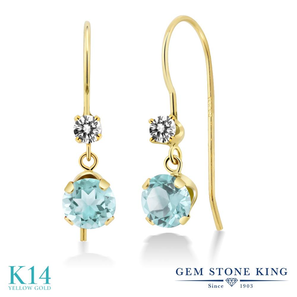 Gem Stone King 1.53カラット 天然 スカイブルートパーズ 天然 ダイヤモンド 14金 イエローゴールド(K14) ピアス レディース ぶら下がり アメリカン 揺れる 天然石 11月 誕生石 金属アレルギー対応 誕生日プレゼント