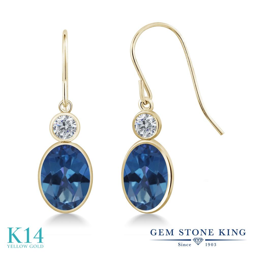 Gem Stone King 2.8カラット 天然 ミスティックトパーズ (サファイアブルー) 天然 ダイヤモンド 14金 イエローゴールド(K14) ピアス レディース 大粒 ぶら下がり フレンチワイヤー 天然石 金属アレルギー対応 誕生日プレゼント