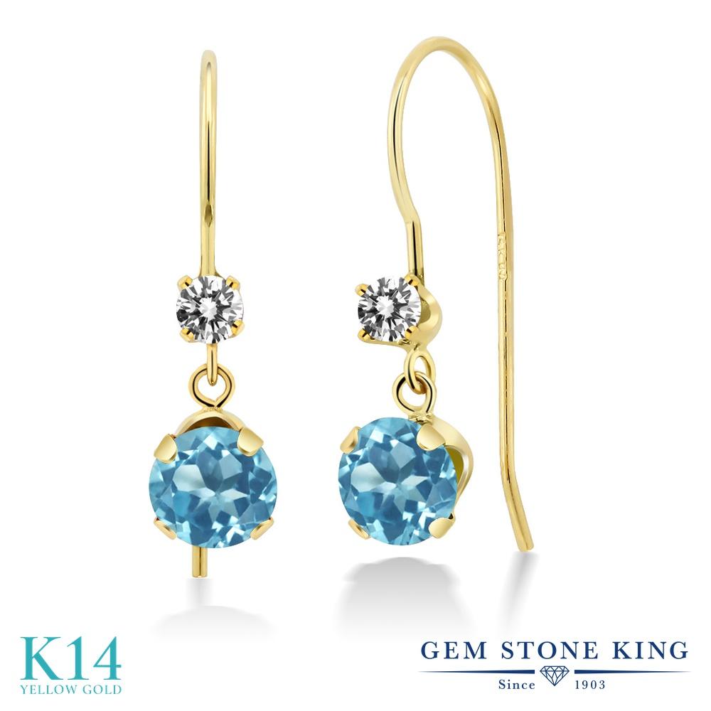 Gem Stone King 1.33カラット 天然 スイスブルートパーズ 天然 ダイヤモンド 14金 イエローゴールド(K14) ピアス レディース ぶら下がり アメリカン 揺れる 天然石 11月 誕生石 金属アレルギー対応 誕生日プレゼント