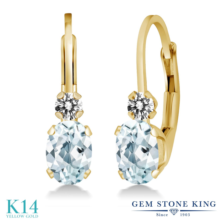 Gem Stone King 0.93カラット 天然 アクアマリン 天然 ダイヤモンド 14金 イエローゴールド(K14) ピアス レディース 小粒 ぶら下がり レバーバック 華奢 細身 天然石 3月 誕生石 金属アレルギー対応 誕生日プレゼント