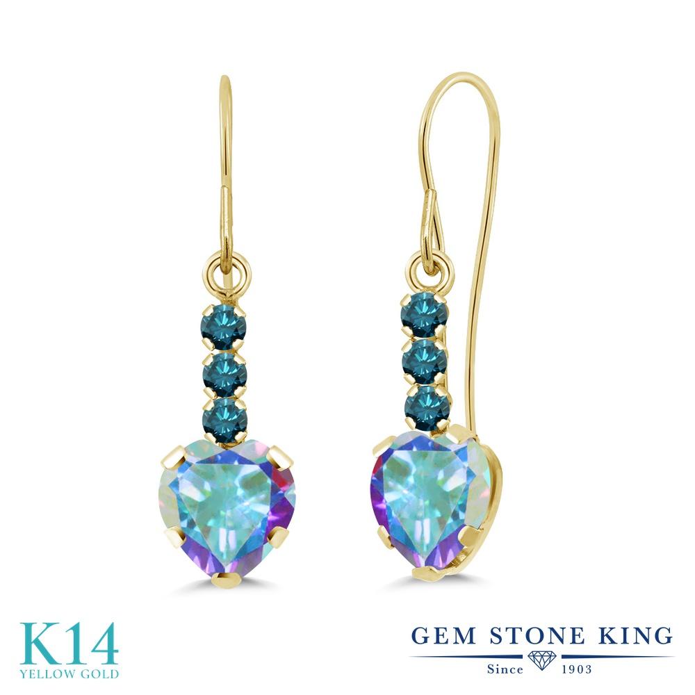 Gem Stone King 2.1カラット 天然石 ミスティックトパーズ (マーキュリーミスト) 天然 ブルーダイヤモンド 14金 イエローゴールド(K14) ピアス レディース ぶら下がり アメリカン 揺れる 天然石 金属アレルギー対応 誕生日プレゼント