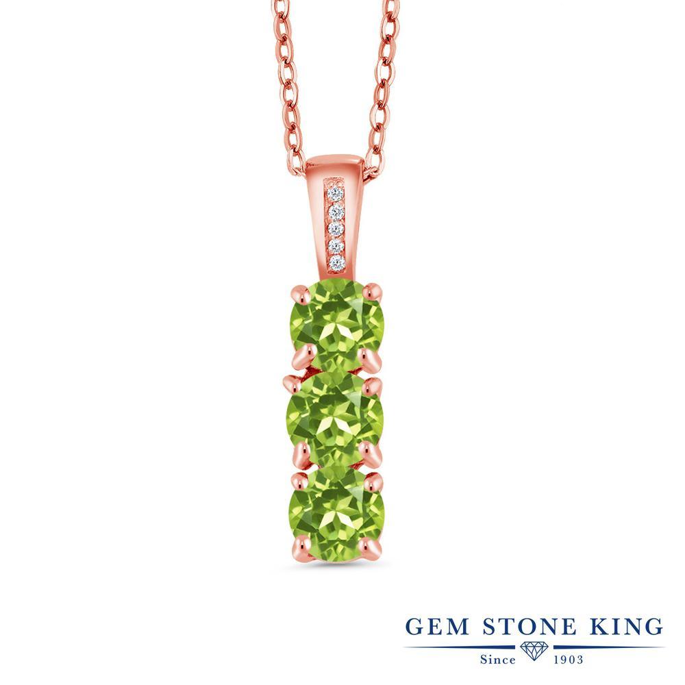 Gem Stone King 1.54カラット 天然石ペリドット シルバー 925 ローズゴールドコーティング 天然ダイヤモンド ネックレス ペンダント レディース 小粒 天然石 誕生石 誕生日プレゼント