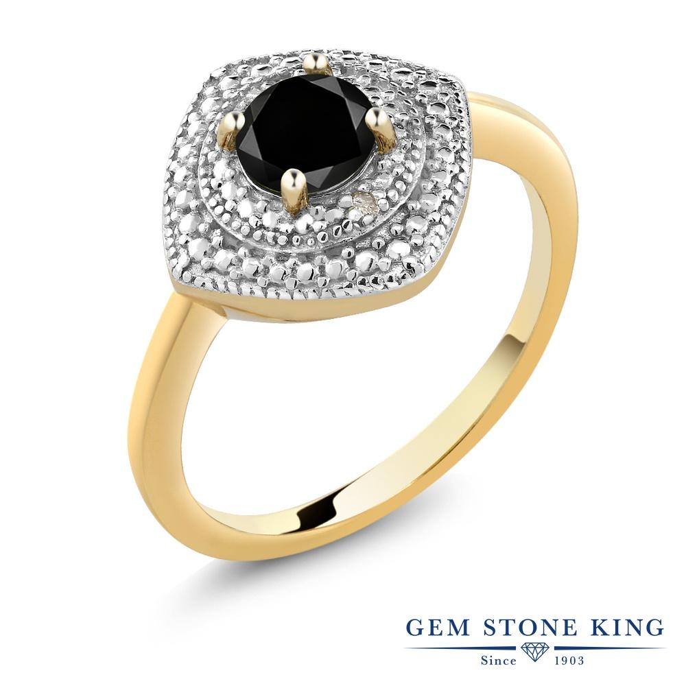 0.55カラット ブラックダイヤモンド 指輪 レディース リング イエローゴールド 加工 シルバー925 ブランド おしゃれ ひし形 ブラック ダイヤ 黒 シンプル ソリティア 天然石 4月 誕生石 プレゼント 女性 彼女 妻 誕生日