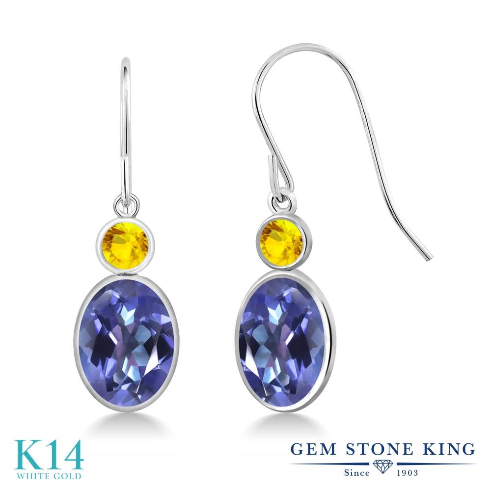 Gem Stone King 3.46カラット 天然 ミスティックトパーズ (タンザナイトブルー) 天然 イエローサファイア 14金 ホワイトゴールド(K14) ピアス レディース 大粒 ぶら下がり フレンチワイヤー 天然石 金属アレルギー対応 誕生日プレゼント