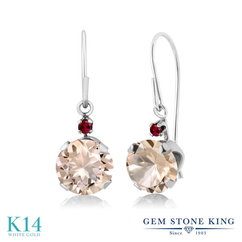 Gem Stone King 1.23カラット 天然 モルガナイト (ピーチ) 合成ルビー 14金 ホワイトゴールド(K14) ピアス レディース ぶら下がり アメリカン 揺れる 天然石 3月 誕生石 金属アレルギー対応 誕生日プレゼント