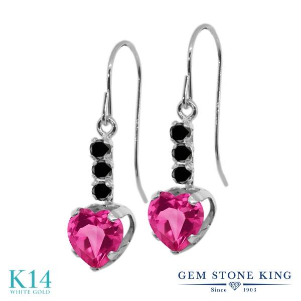 Gem Stone King 2カラット 天然ミスティックトパーズ(ピンク) 14金 ホワイトゴールド(K14) 天然ブラックダイヤモンド ピアス レディース ぶら下がり アメリカン フック 天然石 金属アレルギー対応 誕生日プレゼント