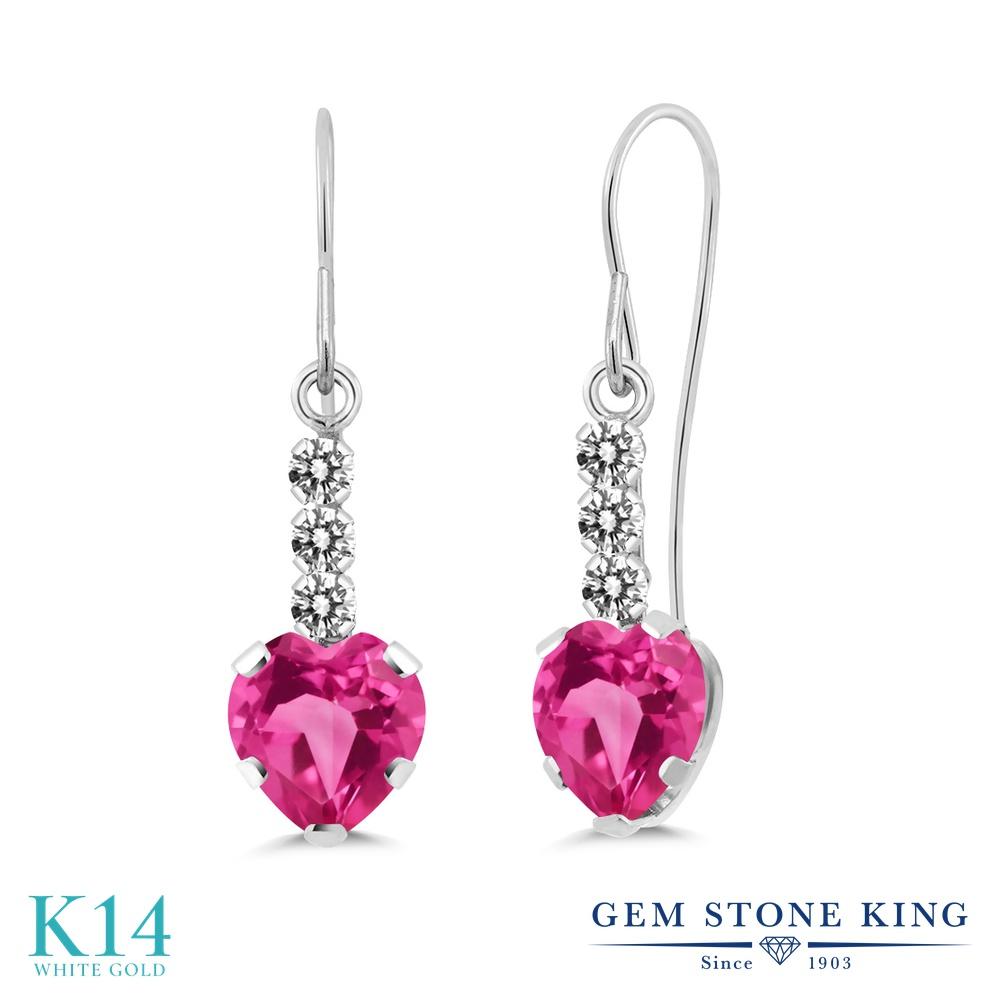Gem Stone King 2カラット 天然ミスティックトパーズ(ピンク) 14金 ホワイトゴールド(K14) 天然ダイヤモンド ピアス レディース ぶら下がり アメリカン フック 天然石 金属アレルギー対応 誕生日プレゼント