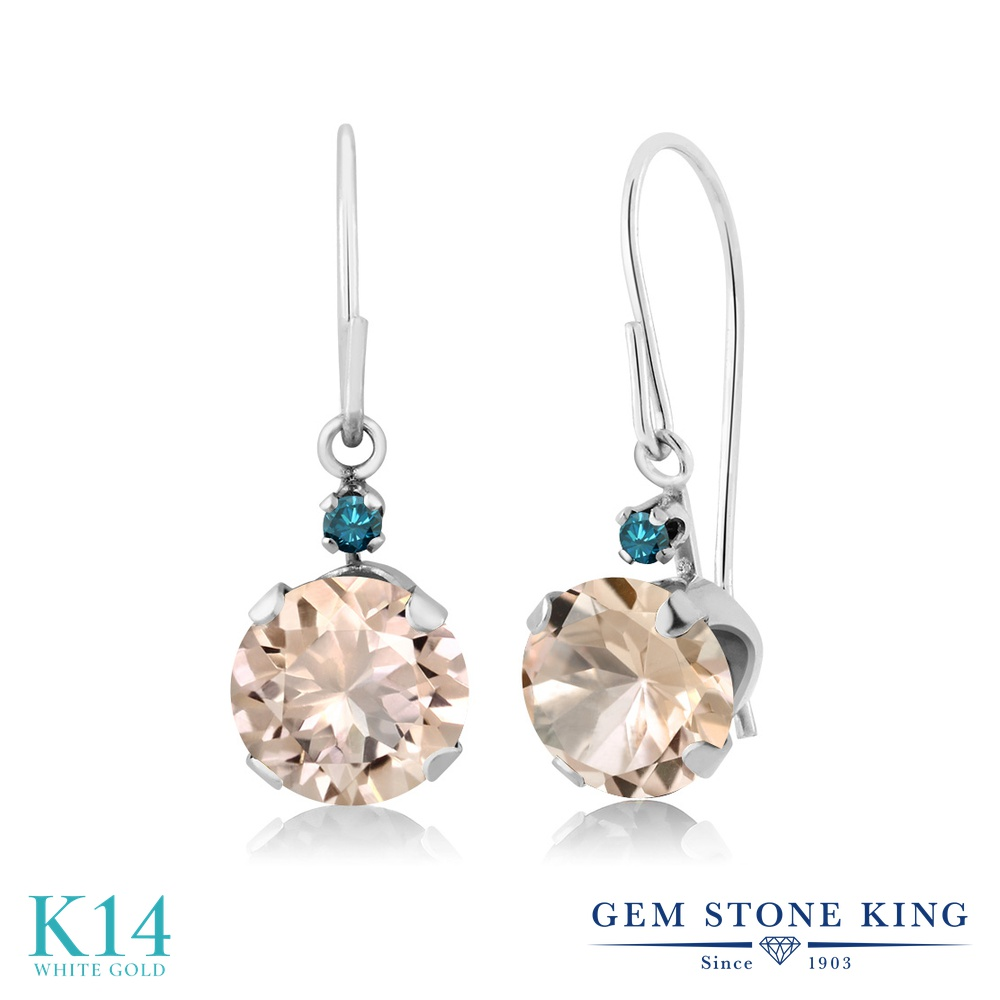 Gem Stone King 1.23カラット 天然 モルガナイト (ピーチ) 天然 ブルーダイヤモンド 14金 ホワイトゴールド(K14) ピアス レディース ぶら下がり アメリカン 揺れる 天然石 3月 誕生石 金属アレルギー対応 誕生日プレゼント