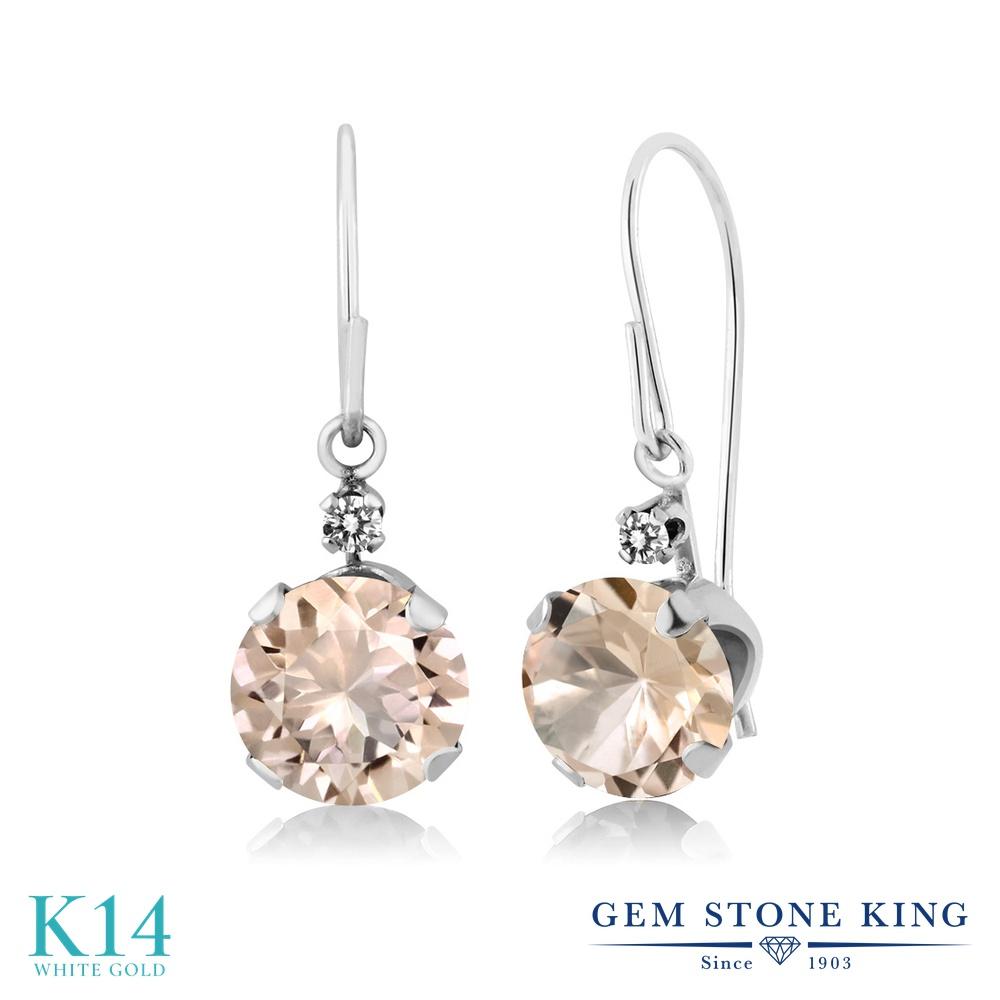 Gem Stone King 1.23カラット 天然 モルガナイト (ピーチ) 天然 ダイヤモンド 14金 ホワイトゴールド(K14) ピアス レディース ぶら下がり アメリカン 揺れる 天然石 3月 誕生石 金属アレルギー対応 誕生日プレゼント