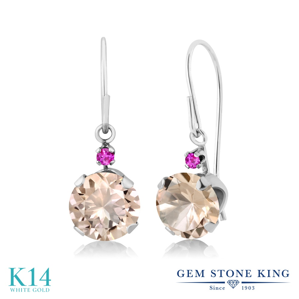 Gem Stone King 1.24カラット 天然 モルガナイト (ピーチ) ピンクサファイア 14金 ホワイトゴールド(K14) ピアス レディース ぶら下がり アメリカン 揺れる 天然石 3月 誕生石 金属アレルギー対応 誕生日プレゼント