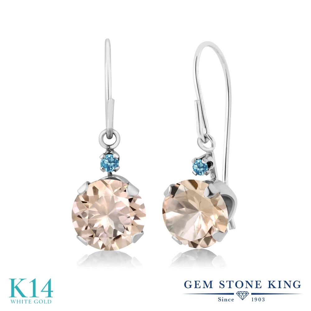 Gem Stone King 1.24カラット 天然 モルガナイト (ピーチ) シミュレイテッド スカイブルートパーズ 14金 ホワイトゴールド(K14) ピアス レディース ぶら下がり アメリカン 揺れる 天然石 3月 誕生石 金属アレルギー対応 誕生日プレゼント