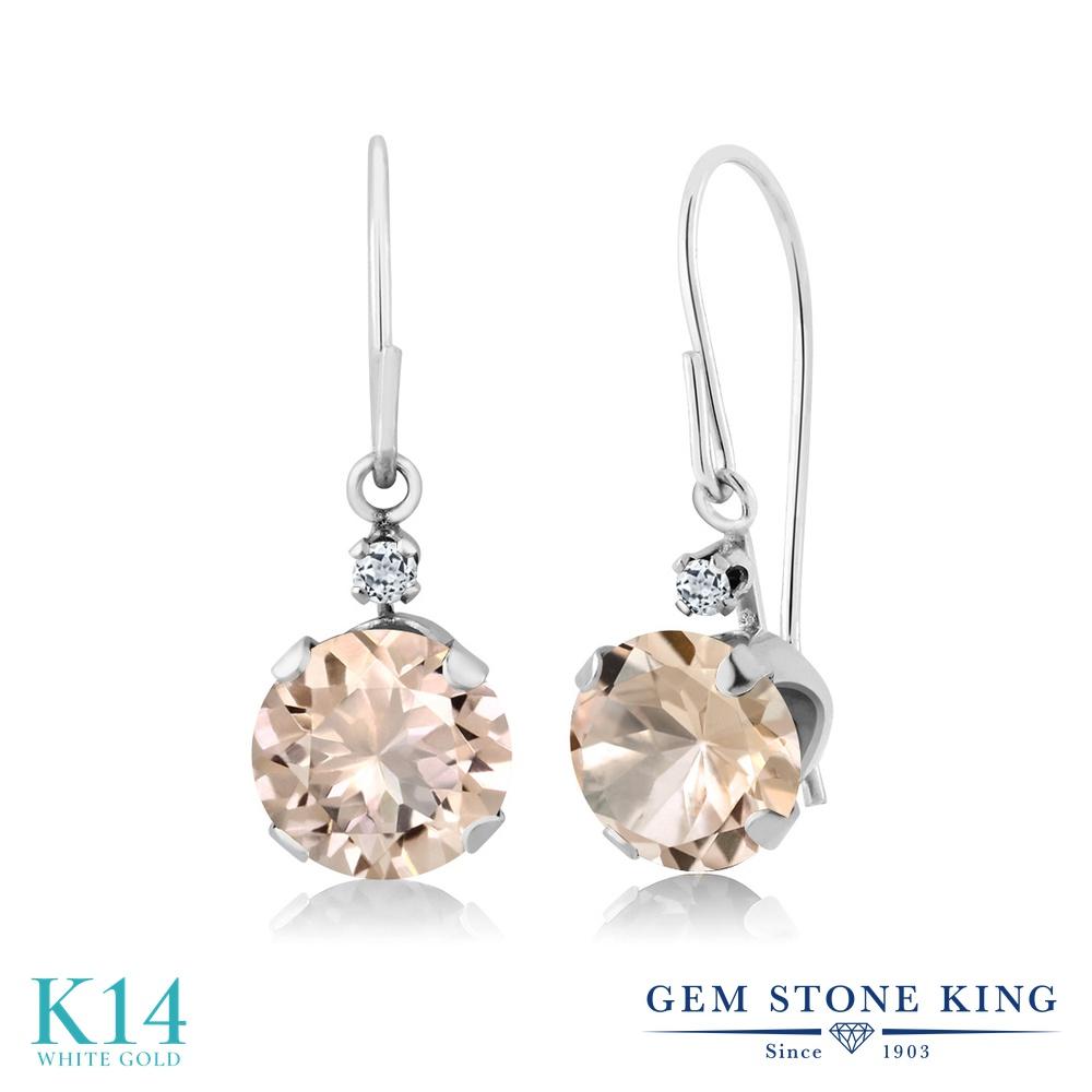 Gem Stone King 1.24カラット 天然 モルガナイト (ピーチ) 天然 トパーズ (無色透明) 14金 ホワイトゴールド(K14) ピアス レディース ぶら下がり アメリカン 揺れる 天然石 3月 誕生石 金属アレルギー対応 誕生日プレゼント