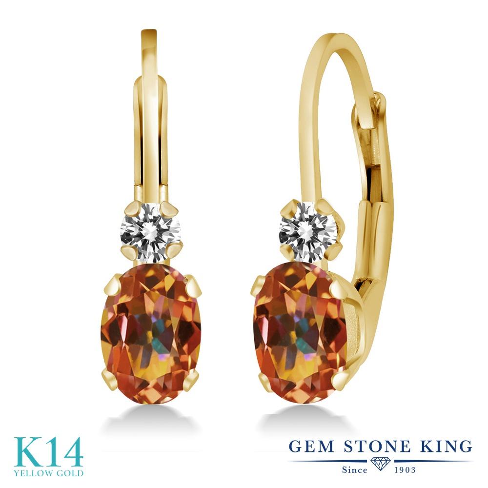 Gem Stone King 1.07カラット 天然石 エクスタシーミスティックトパーズ 天然 ダイヤモンド 14金 イエローゴールド(K14) ピアス レディース 小粒 ぶら下がり レバーバック 華奢 細身 天然石 金属アレルギー対応 誕生日プレゼント