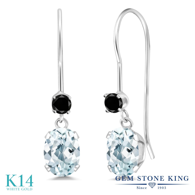 Gem Stone King 0.99カラット 天然 アクアマリン 天然ブラックダイヤモンド 14金 ホワイトゴールド(K14) ピアス レディース 小粒 ぶら下がり アメリカン 揺れる 天然石 3月 誕生石 金属アレルギー対応 誕生日プレゼント