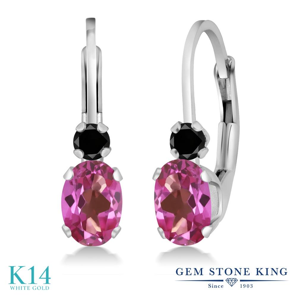 Gem Stone King 1.17カラット 天然 ミスティックトパーズ (ピンク) 天然ブラックダイヤモンド 14金 ホワイトゴールド(K14) ピアス レディース ぶら下がり レバーバック 華奢 細身 天然石 金属アレルギー対応 誕生日プレゼント
