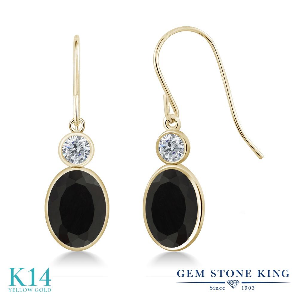 Gem Stone King 2.7カラット 天然 オニキス 天然 ダイヤモンド 14金 イエローゴールド(K14) ピアス レディース 大粒 ぶら下がり フレンチワイヤー 天然石 8月 誕生石 金属アレルギー対応 誕生日プレゼント