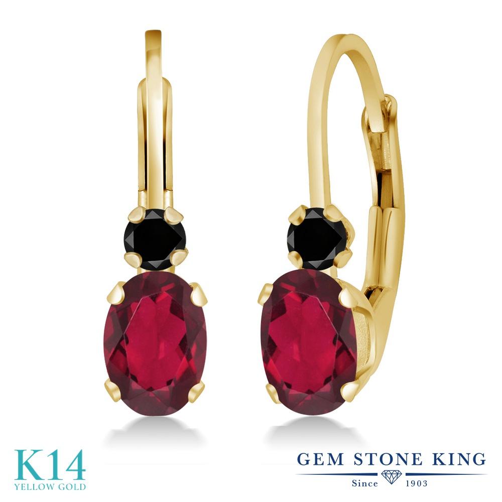 Gem Stone King 1.07カラット 天然 ミスティックトパーズ (ルビーレッド) 天然ブラックダイヤモンド 14金 イエローゴールド(K14) ピアス レディース 小粒 ぶら下がり レバーバック 華奢 細身 天然石 金属アレルギー対応 誕生日プレゼント