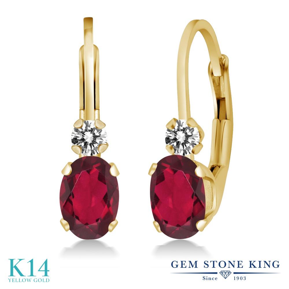 Gem Stone King 1.07カラット 天然 ミスティックトパーズ (ルビーレッド) 天然 ダイヤモンド 14金 イエローゴールド(K14) ピアス レディース 小粒 ぶら下がり レバーバック 華奢 細身 天然石 金属アレルギー対応 誕生日プレゼント
