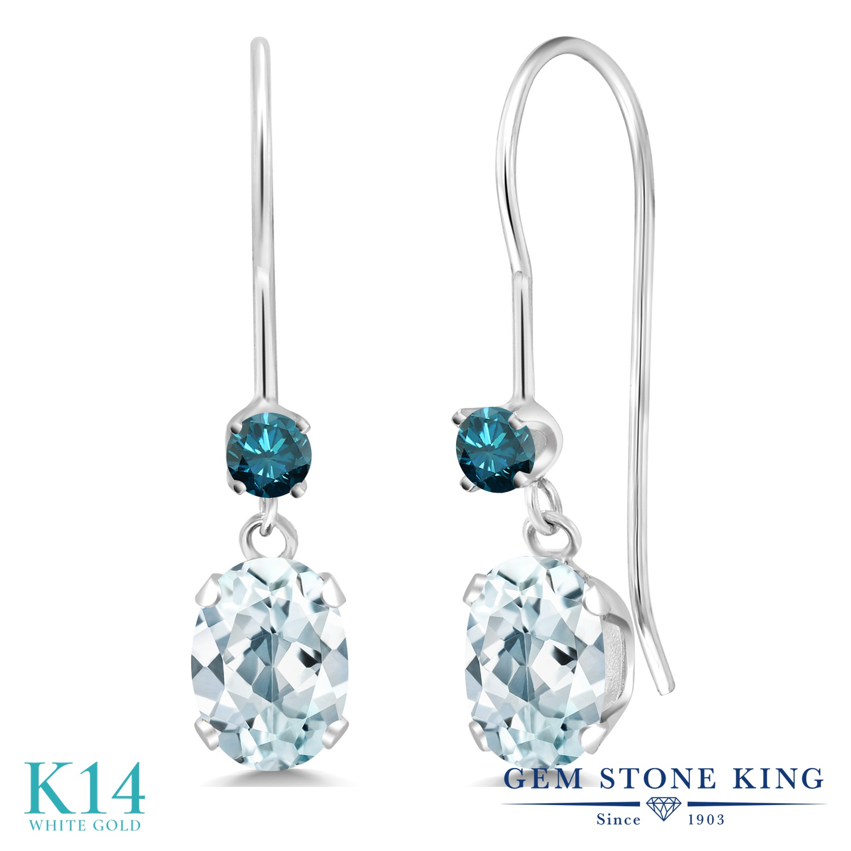 Gem Stone King 0.99カラット 天然 アクアマリン 天然 ブルーダイヤモンド 14金 ホワイトゴールド(K14) ピアス レディース 小粒 ぶら下がり アメリカン 揺れる 天然石 3月 誕生石 金属アレルギー対応 誕生日プレゼント