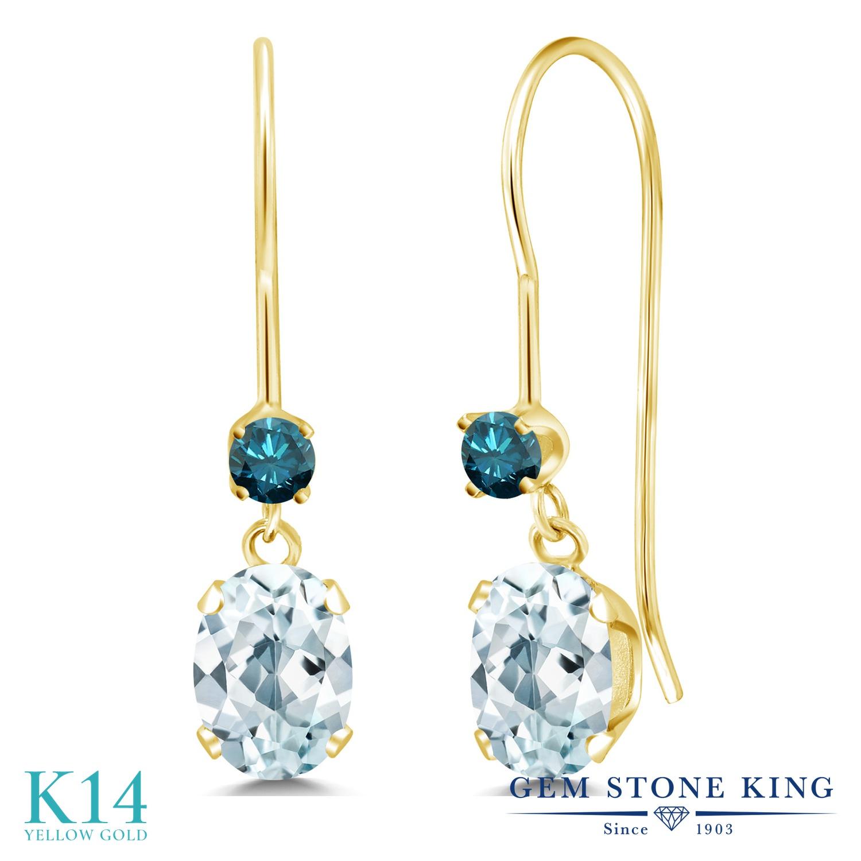 Gem Stone King 0.99カラット 天然 アクアマリン 天然 ブルーダイヤモンド 14金 イエローゴールド(K14) ピアス レディース 小粒 ぶら下がり アメリカン 揺れる 天然石 3月 誕生石 金属アレルギー対応 誕生日プレゼント
