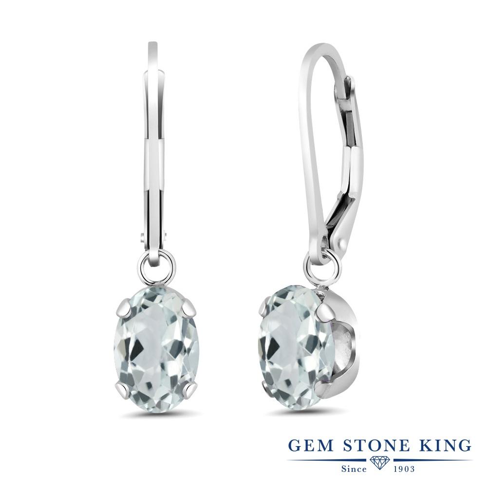 Gem Stone King 2.2カラット 天然 アクアマリン シルバー925 ピアス レディース 大粒 シンプル ぶら下がり レバーバック 天然石 3月 誕生石 金属アレルギー対応 誕生日プレゼント