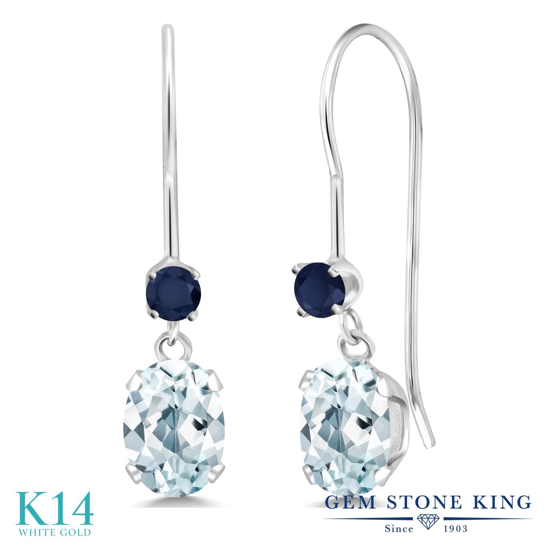 Gem Stone King 1.02カラット 天然 アクアマリン 天然 サファイア 14金 ホワイトゴールド(K14) ピアス レディース 小粒 ぶら下がり アメリカン 揺れる 天然石 3月 誕生石 金属アレルギー対応 誕生日プレゼント
