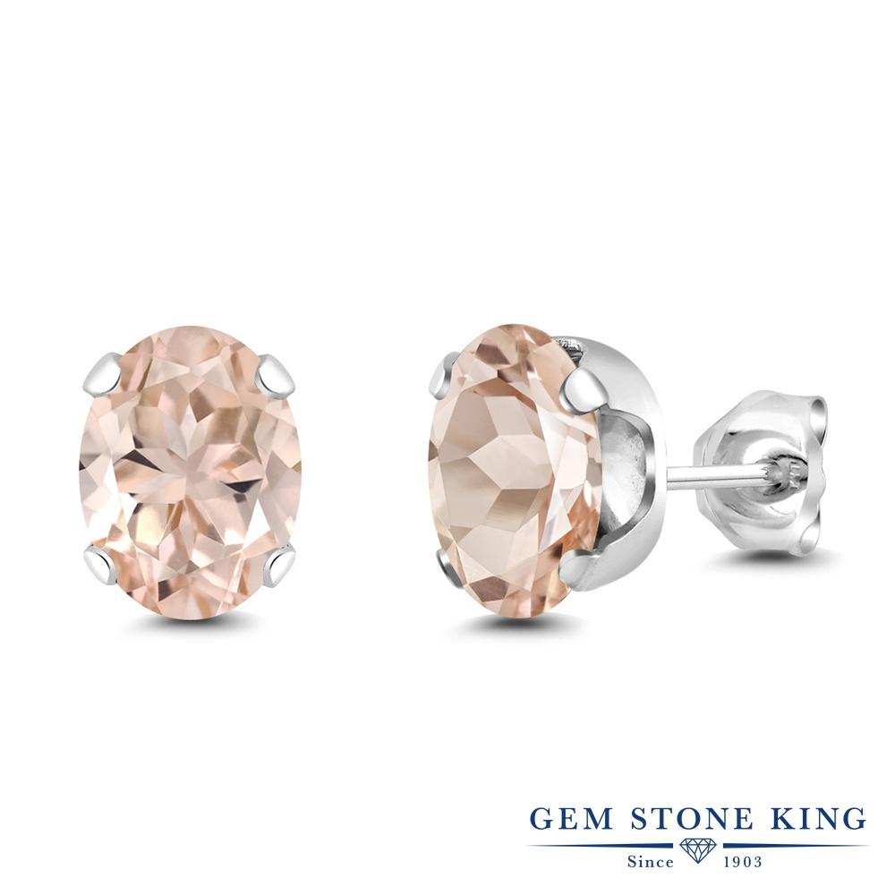 Gem Stone King 2カラット 天然 モルガナイト (ピーチ) ロジウム プレーティング ピアス レディース 大粒 シンプル スタッド 天然石 3月 誕生石 金属アレルギー対応 誕生日プレゼント