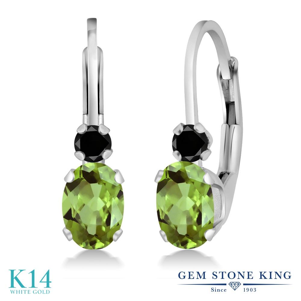 Gem Stone King 1.07カラット 天然石 ペリドット 天然ブラックダイヤモンド 14金 ホワイトゴールド(K14) ピアス レディース 小粒 ぶら下がり レバーバック 華奢 細身 天然石 8月 誕生石 金属アレルギー対応 誕生日プレゼント