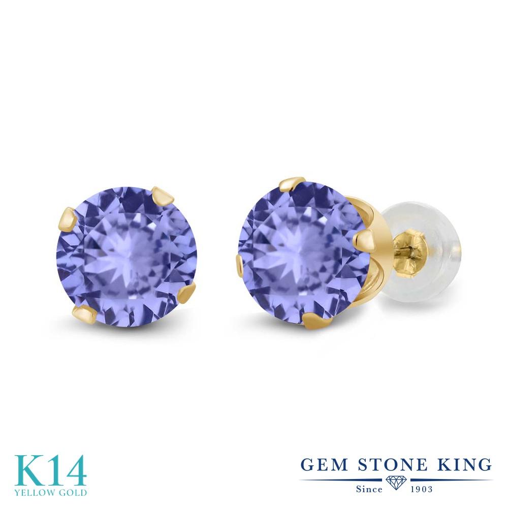 Gem Stone King 1.8カラット 天然石 タンザナイト 14金 イエローゴールド(K14) ピアス レディース 大粒 シンプル スタッド 天然石 12月 誕生石 金属アレルギー対応 誕生日プレゼント