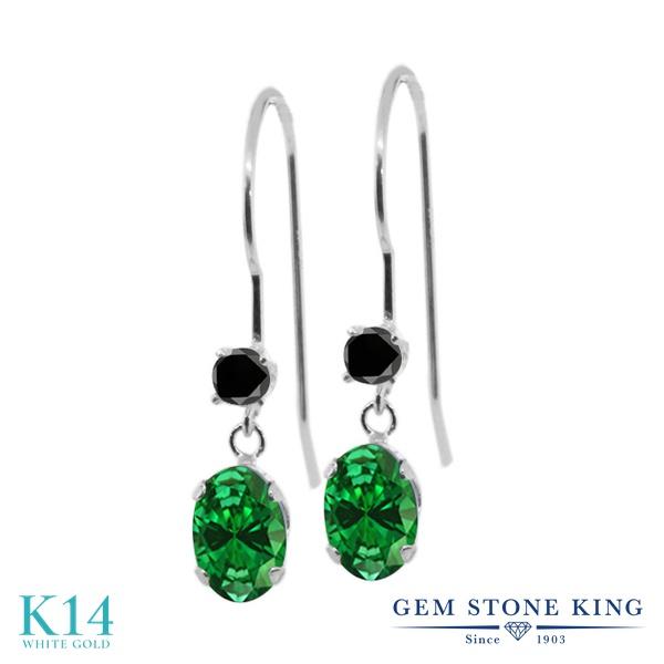 Gem Stone King 1.49カラット シミュレイテッド エメラルド 14金 ホワイトゴールド(K14) 天然ブラックダイヤモンド ピアス レディース ぶら下がり アメリカン フック 金属アレルギー対応 誕生日プレゼント