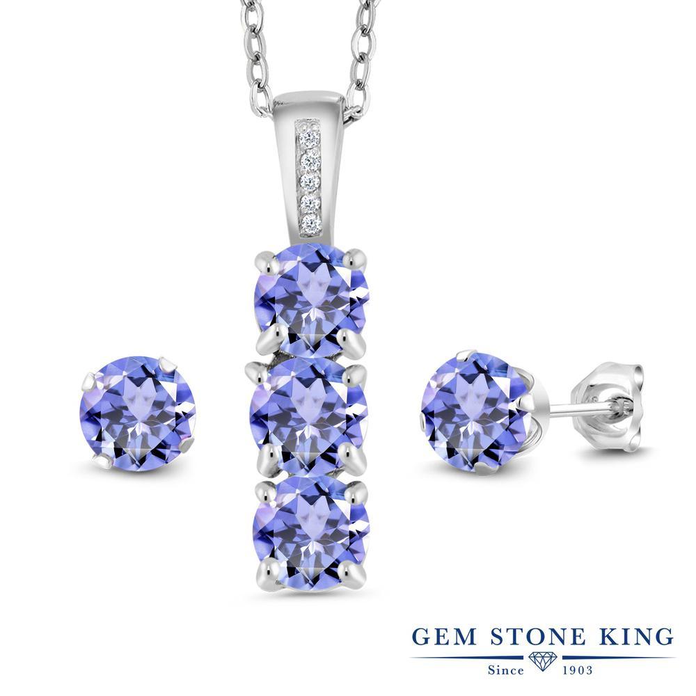 Gem Stone King 2.34カラット 天然石 タンザナイト 天然 ダイヤモンド シルバー925 ペンダント&ピアスセット レディース 小粒 天然石 12月 誕生石 金属アレルギー対応 誕生日プレゼント