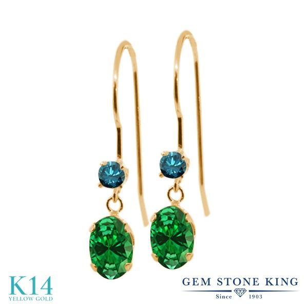 Gem Stone King 1.49カラット ナノエメラルド 天然 ブルーダイヤモンド 14金 イエローゴールド(K14) ピアス レディース ぶら下がり アメリカン 揺れる 金属アレルギー対応 誕生日プレゼント