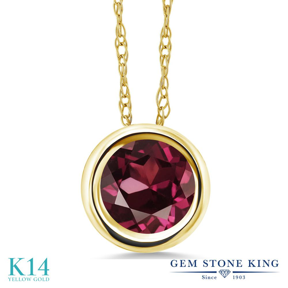 Gem Stone King 1カラット 天然 ロードライトガーネット 14金 イエローゴールド(K14) ネックレス ペンダント レディース 大粒 一粒 シンプル 天然石 金属アレルギー対応 誕生日プレゼント