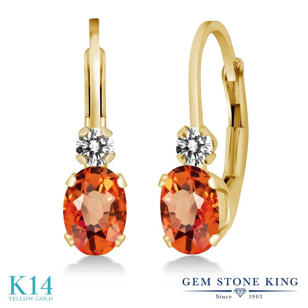Gem Stone King 1.17カラット 天然 オレンジサファイア 天然 ダイヤモンド 14金 イエローゴールド(K14) ピアス レディース ぶら下がり レバーバック 華奢 細身 天然石 9月 誕生石 金属アレルギー対応 誕生日プレゼント