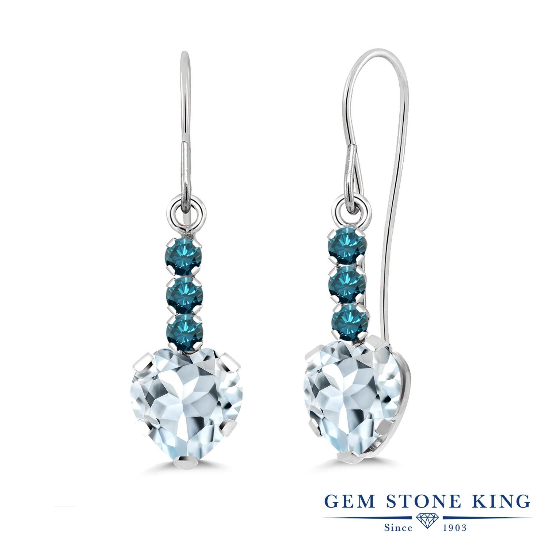 Gem Stone King 1.54カラット 天然 アクアマリン 天然 ブルーダイヤモンド シルバー925 ピアス レディース ぶら下がり アメリカン 揺れる 天然石 3月 誕生石 金属アレルギー対応 誕生日プレゼント