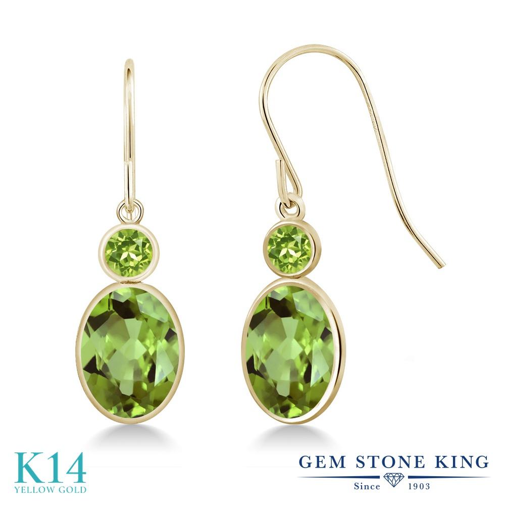 Gem Stone King 2.9カラット 天然石 ペリドット 14金 イエローゴールド(K14) ピアス レディース 大粒 ぶら下がり フレンチワイヤー 天然石 8月 誕生石 金属アレルギー対応 誕生日プレゼント