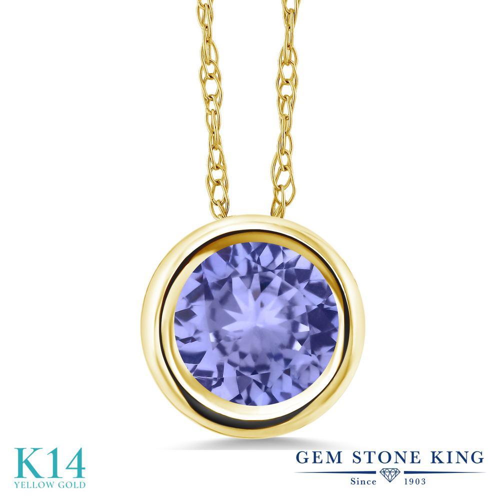 Gem Stone King 0.9カラット 天然石 タンザナイト 14金 イエローゴールド(K14) ネックレス ペンダント レディース 一粒 シンプル 天然石 12月 誕生石 金属アレルギー対応 誕生日プレゼント