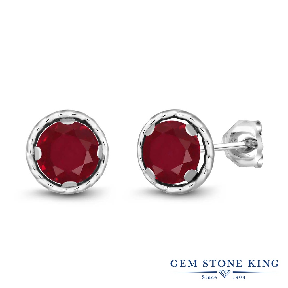 Gem Stone King 2.1カラット 天然 ルビー シルバー925 ピアス レディース 大粒 シンプル スタッド 天然石 7月 誕生石 金属アレルギー対応 誕生日プレゼント