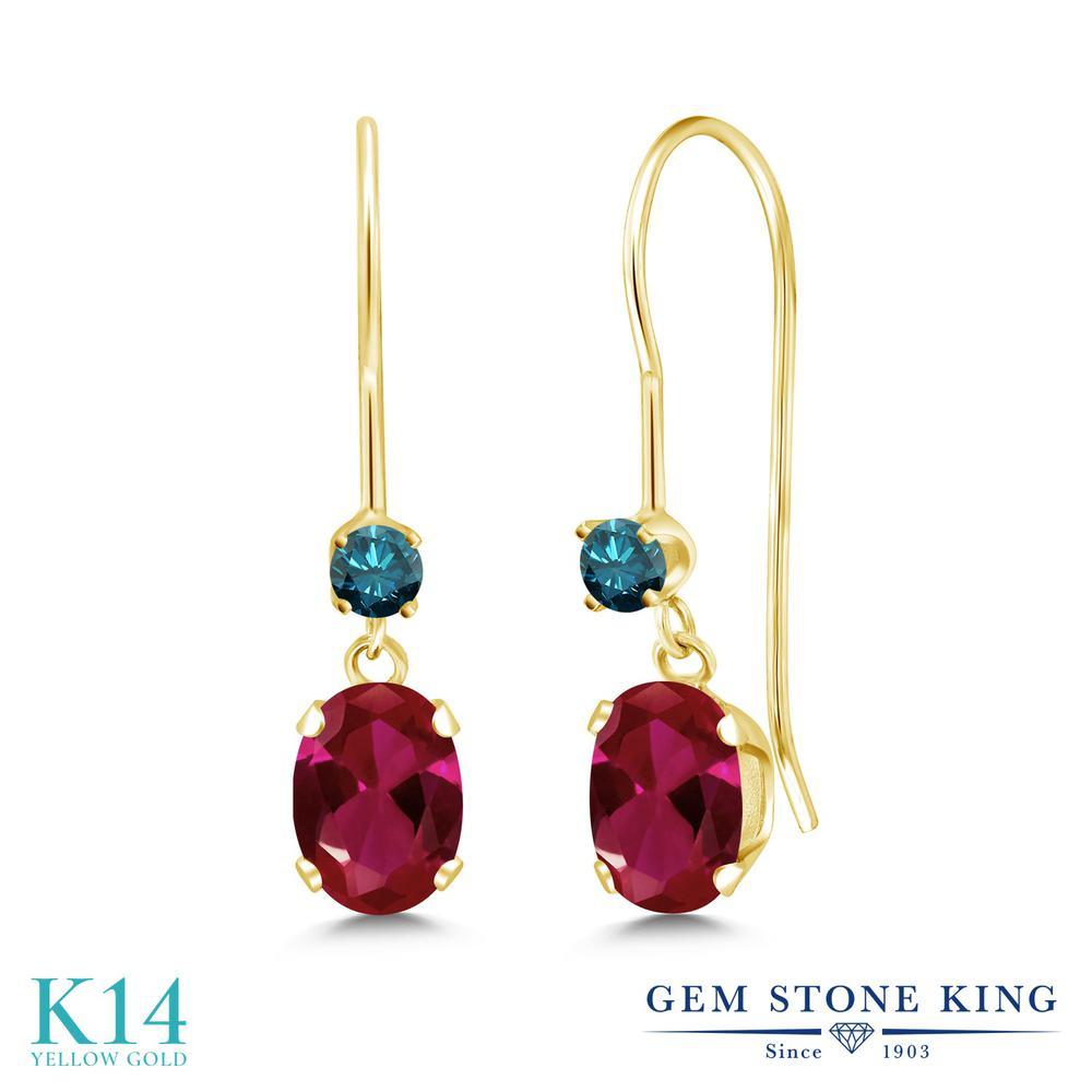 Gem Stone King 1.49カラット 合成ルビー 天然 ブルーダイヤモンド 14金 イエローゴールド(K14) ピアス レディース ぶら下がり アメリカン 揺れる 金属アレルギー対応 誕生日プレゼント