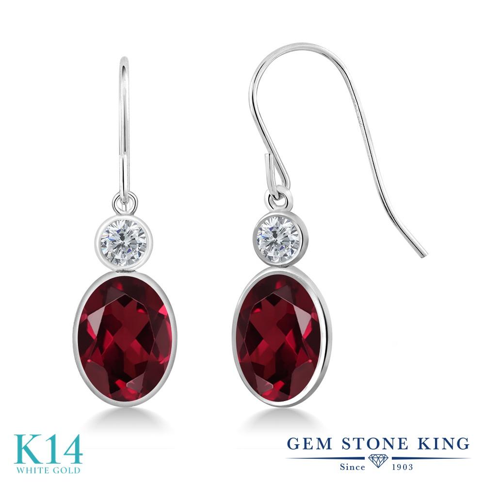 Gem Stone King 2.9カラット 天然 ロードライトガーネット 天然 ダイヤモンド 14金 ホワイトゴールド(K14) ピアス レディース 大粒 ぶら下がり フレンチワイヤー 天然石 金属アレルギー対応 誕生日プレゼント