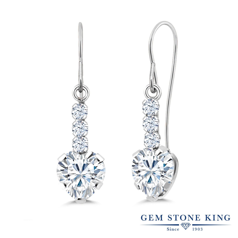 Gem Stone King 1.84カラット Forever Brilliant モアサナイト Charles & Colvard 合成ホワイトサファイア (ダイヤのような無色透明) シルバー925 ピアス レディース モアッサナイト ぶら下がり アメリカン 揺れる 金属アレルギー対応 誕生日プレゼント