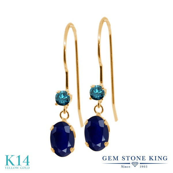 Gem Stone King 1.49カラット シミュレイテッド サファイア 天然 ブルーダイヤモンド 14金 イエローゴールド(K14) ピアス レディース ぶら下がり アメリカン 揺れる 金属アレルギー対応 誕生日プレゼント