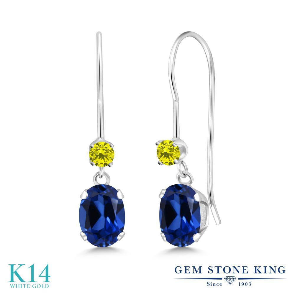 Gem Stone King 1.49カラット シミュレイテッド サファイア 天然 イエローダイヤモンド 14金 ホワイトゴールド(K14) ピアス レディース ぶら下がり アメリカン 揺れる 金属アレルギー対応 誕生日プレゼント